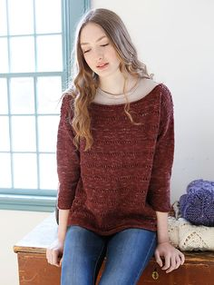 Dianthus is a beautifully simple pullover featuring stripes of eyelets.