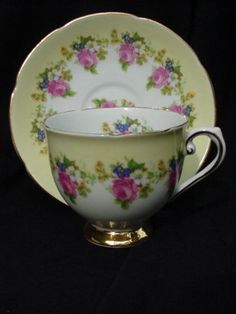 Stanley English Bone China Cup and Saucer, Yellow Border, Roses