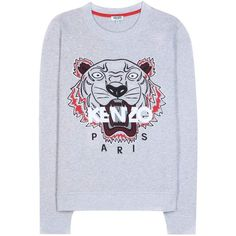 Kenzo Embroidered Cotton Sweater (5.092.460 VND) ❤ liked on Polyvore featuring tops, sweaters, grey, sweatshirts, gray sweater, embroidered cotton top, gray top, embroidered top and grey top