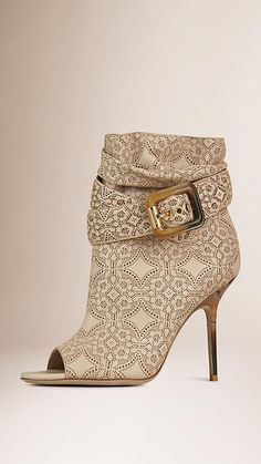 Refined peep-toe ankle boots from Burberry in supple laser-cut lace lambskin. Discover the shoes at Burberry.com