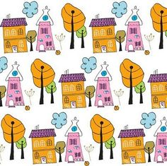 Neighbors wall paper, hand drawn, scanned, colored in PSE