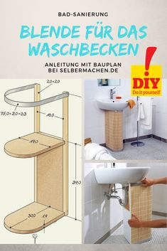 Build the pipe screen yourself In order to beautify your bathroom, you don& have to do a complete renovation right away. Easy Diy Crafts, Home Crafts, Sink Cover, Home Organisation, Pedestal Sink, Summer Diy, Home Hacks, Home Interior, Apartment Living