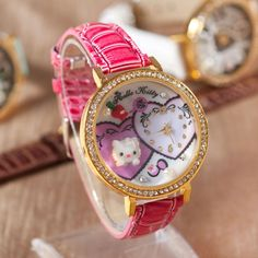 2014 new PU Leather Hello Kitty Fashionistas cat with diamonds Watch children carton watch Christmas gift for kids 1005