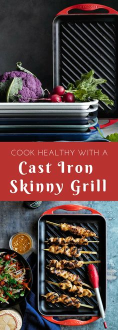 Simple and healthy cooking starts with a great cast iron grilling pan. This from Le Creuset is my favorite. It's ideal for vegetables, steaks and shrimp. #grillpan #ad #healthy