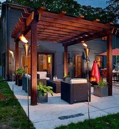 30 Small Backyard Ideas That Will Make Your Backyard Look Big #backyarddesign Diy Pergola, Building A Pergola, Pergola Ideas, Wooden Pergola, Outdoor Pergola, Pergola Lighting, Cheap Pergola, Building Plans, Pergola Shade