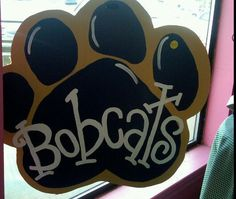 Personalized bobcat paw print. This would be awesome for the door wreath I want to make. $30