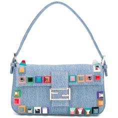 Fendi Baguette Denim Shoulder Bag (30,050 THB) ❤ liked on Polyvore featuring bags, handbags, shoulder bags, blue, colorful handbags, blue purse, white shoulder bag, denim shoulder bag and blue handbags