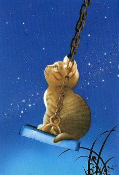 Swing Beneath a Star by Makoto Muramatsu,  arte, picture, pintura, art, ilustração, desenho, gato, olhando as estrelas, cat and picture