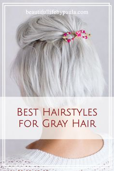 Short white hair? Long gray hair? Platinum hair? Short silver hair? Check out this post for the Top 10 Best hairstyles for gray hair! | How to do a half up half down hairstyle | Lilla Rose hairstyles | best hairstyles for women over 40 | best hairstyles for women over 50 | aging gracefully Short Silver Hair, Short White Hair, Silver White Hair, Short Grey Hair, Silver Platinum Hair, Grey Hair Over 50, Hair For Women Over 50, Short Hair Over 50, Short Hairstyles Over 50