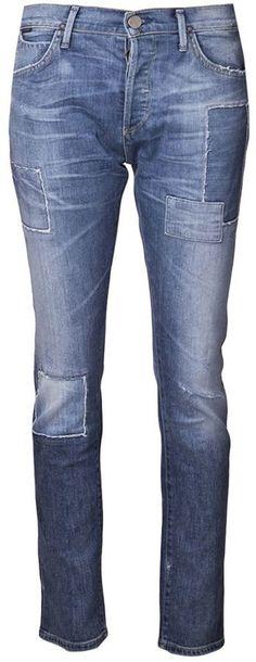 €244, Blaue Jeans mit Flicken von Gold Sign. Online-Shop: farfetch.com. Klicken Sie hier für mehr Informationen: https://lookastic.com/women/shop_items/151267/redirect