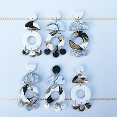 Monochrome and gold polymer clay statement earrings by Salvation Jewellery