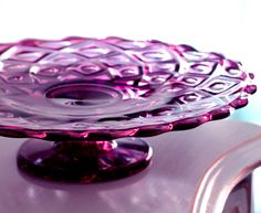 Thanksgiving Vintage Cake Stand in Amethyst Purple Plum Cake Plate Pie Pedestal Truffle Stand Hors d oeuvre Platter Appetizer Tray - by - The Roche Studio Vintage Cake Stands Vintage Cake Plates, Vintage Cake Stands, Vintage Dishes, Vintage Glassware, Vintage Cakes, Kitchenaid, Victorian Cakes, Cake Carrier, Cake Platter