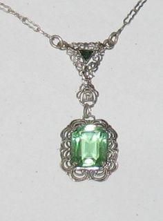 Vintage Sterling Peridot Emerald Filigree Pendant Choker Necklace 1920's  $136.84 OBO