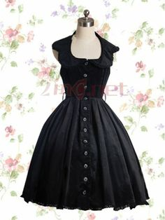 $73.91Scoop Empire Knee-length Buttons Cotton Gothic Lolita Dress #With #Vertical #Pleats