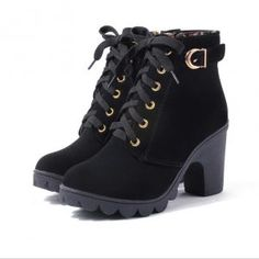 Mcckle Ankle Boots Platform High Heels Buckle Shoes on Lace Up Ankle Boots, High Heel Boots, Heeled Boots, Women's Boots, Boot Heels, Buy Boots, Leather Fashion, Fashion Boots, Pu Leather