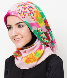Tropical Heart Scarf by  SHAFIRA ENCYCLO. Scarf that made from lightweight material, with multi-color, and heart pattern print all over the scarf, this scarf can be use as a hijab, perfect for you who like a bright color, length 109 cm, wide 109 cm. http://www.zocko.com/z/JIxgd