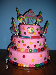 Candy Shop Birthday - I did this cake for my daughter's 2nd birthday. It was a candy shop theme. All edible, except the sucker sticks!