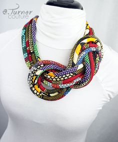 Unique African necklace https://www.etsy.com/listing/214969292/multicolored-african-fabric-knot-rope