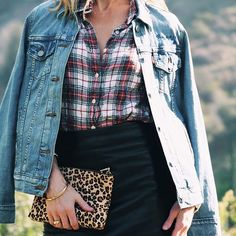 I love and wear my customized @levis Trucker Jacket for work and play.  outfit inspiration, outfit ideas, outfits for work, outfit ideas for work, jacket, denim jackets, plaid shirt, leather skirt, coat, fur collared coat, denim for the office, ladylike outfits, classy outfits, leopard print clutch