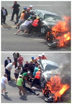 Watch good Samaritans lift a burning BMW off a trapped biker. Faith in Humanity: Restored..