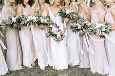 pink bridesmaid dresses all different, bouquets with silk ties   Bloom Lake Barn   Kate Becker Photography, Minneapolis Wedding Photographer