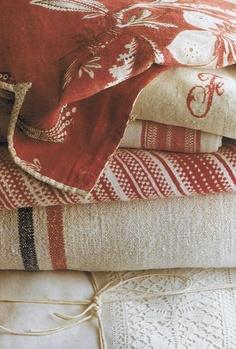 Marvelous vintage textiles (linen, hemp, etc. Guinevere Antiques. World of Interiors October 2008