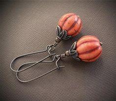 Pumpkin Earrings, Autumn Drop Earrings, Dangle Earrings, Fall Holiday Jewelry, Copper Earrings by KachinaDesigns, $30.00 USD