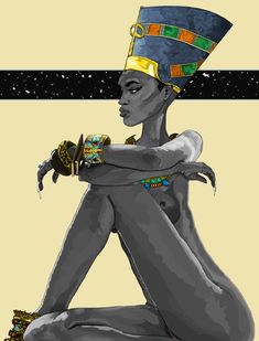 Nefertiti by Watson Mere. Art created using MicroSoft Paint. No pad, just mouse. @artofmere : : submission : :