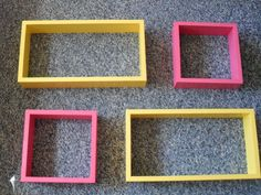 ANY COLORS - Set of 4 Matching Shelves - Square and Rectangle - Shadow Box - Wood Shelf - Pink Wooden Home Decor. $84.99, via Etsy. Box Shelves, Homemaking, Shadow Box, Cool Kitchens, Home Projects, Room Decor, Wood Shelf, Shelf Ideas, House Styles