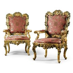 A pair of Italian painted and carved giltwood large armchairs attributed to Nicola Carletti, Roman third quarter 18th century