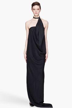 Denis Gagnon - Silk, Leather-collared Halter Dress