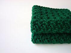 Crochet Cotton Washcloths / Bath Scrubbies Green by MyHobbyShop, $7.50