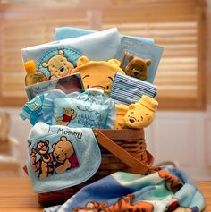 Winnie The Pooh New Baby Basket - Blue -- Winnie The Pooh and you are sure to deliver sincere congratulations. This attractive woodchip hamper delivers an array of cozy Winnie the pooh gifts. Gift Baskets, Winnie The Pooh, Baby Shower, Cake, Children, Gifts, Ideas, Sympathy Gift Baskets, Baby Sprinkle Shower