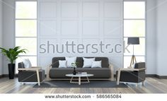 White room interior and black furniture  on dark wood floor and white wall /3d render