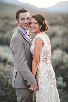 Modern, pink and gold mountain wedding