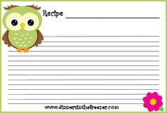 Cute Recipe Cards   Use these cute owl printable recipes cards to keep track of all your ...