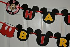 Mickey Mouse Birthday Banner by KraftingwithPatty on Etsy, $28.00