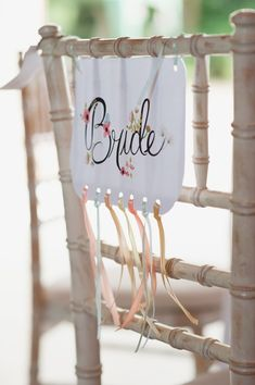 Crafty Rustic Barn Wedding Bride Chair Sign Ribbons http://www.fionasweddingphotography.co.uk/
