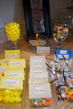 Simple Harry Potter party favor ideas! You could do a variety of stores with Honeydukes, Olivanders, and The Weasley's Joke shop!