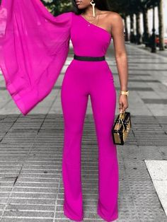 Pink wedding jumpsuit with wide bell sleeves African jumpsuit Formal Jumpsuit, Wedding Jumpsuit, White Jumpsuit, African Jumpsuit, African Dress, Stylish Outfits, Cute Outfits, Fashion Outfits, Womens Fashion
