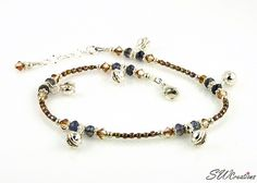 Handcrafted adjustable brown beaded gypsy belly dance anklet created with Swarovski crystals, iolite gemstones, jingle charms and sterling silver. Beaded Anklets, Beaded Jewelry, Beaded Bracelets, Summer Jewelry, Ankle Bracelets, Swarovski Crystals, Jewelery, Glass Beads, Jewelry Making