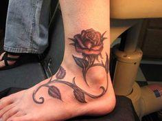 Rose Vine Foot Tattoos   45 Stupendous Ankle Tattoos   CreativeFan