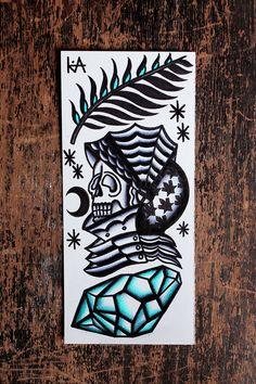dead warrior. traditional tattoo flash. watercolour.
