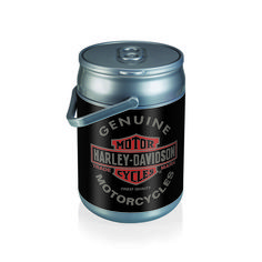This can cooler is a hard-sided cooler in the shape of a can, that can also be used as a seat. Has a Harley Davidson motor oil can digital print and covers the whole can. Holds 10-12 ounce cans .