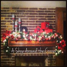 Love mantle decor for Christmas time!  @ashoparoundthecorner  New Braunfels TX