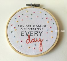 Teacher Thank You Gift Appreciation Week Embroidery Hoop