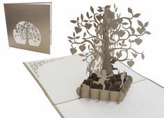 Pop up wedding card tree with hearts (silver) - LIN - LIN - POP UP 3D Greeting cards