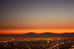 Sunset over Santiago, Chile's capital city