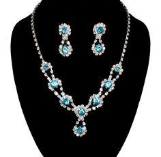 #77909-CMV/Rhinestone Necklace Earring Set-Silver/Aqua