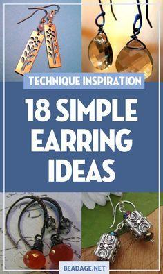 18 Simple & Easy Earring Making Ideas – Jewelry Making - DIY Schmuck Ideen Diy Jewelry Projects, Jewelry Making Tutorials, Jewelry Crafts, Craft Projects, Jewelry Ideas, Jewelry Patterns, Beginner Jewelry Making, Box Patterns, Jewelry Trends